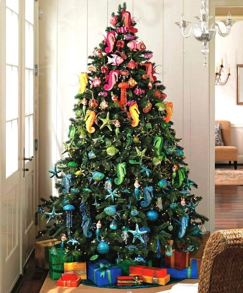 cool ombre christmas tree with colorful beach inspired ornaments