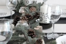 08 evergreen and pinecone table runner