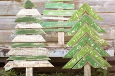 08 shabby recycled Christmas trees with horizontal and chevron parts