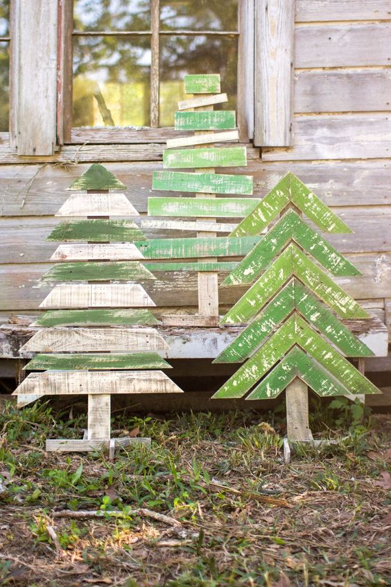 shabby recycled Christmas trees with horizontal and chevron parts