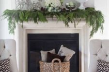 08 simple evergreen garland on the mantel, green ornaments