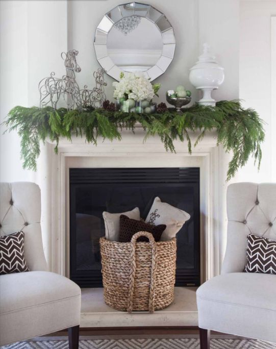 simple evergreen garland on the mantel, green ornaments