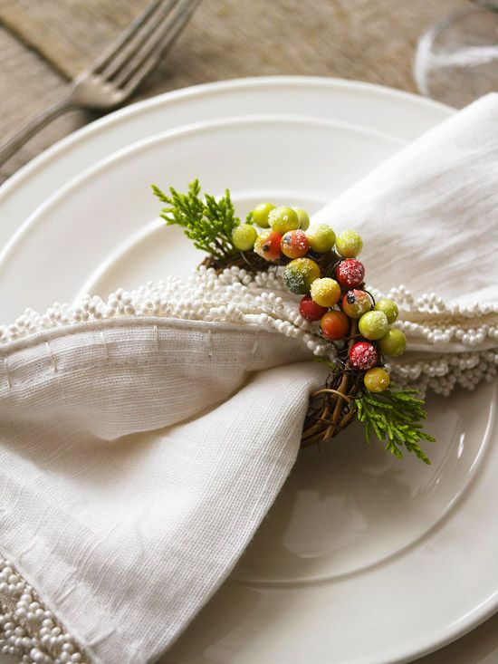 frosty berries grapevine wreath as a napkin ring