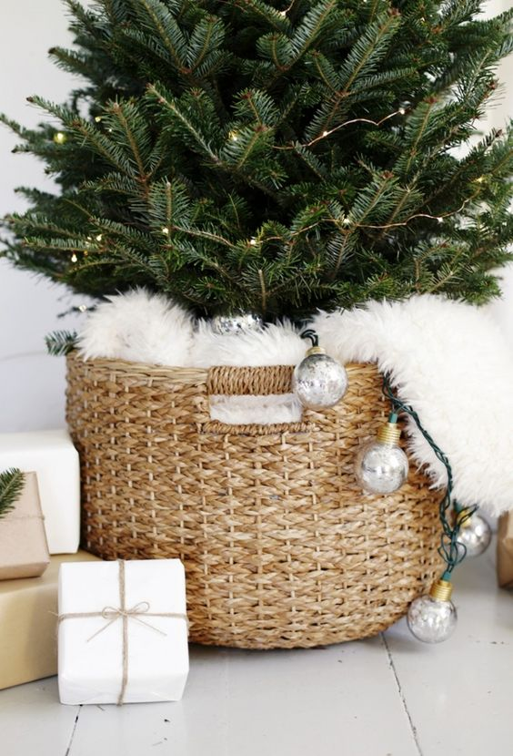 modern tree in a basket covered with white fur