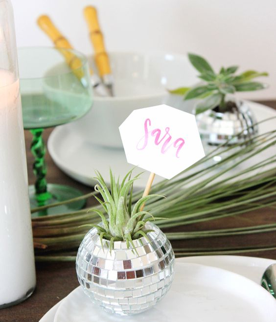 a disco ball with airplant as a card holder