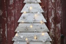 10 beautiful grey pallet plank tree with silver ornaments and lights