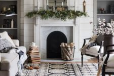 10 foliage-decorated mantel with candles
