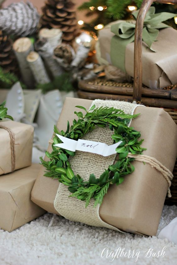 kraft paper, burlap mesh, twine, a small greenery wreath