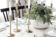 10 modern rustic white table with brass candle holders and eucalyptus branches in pots