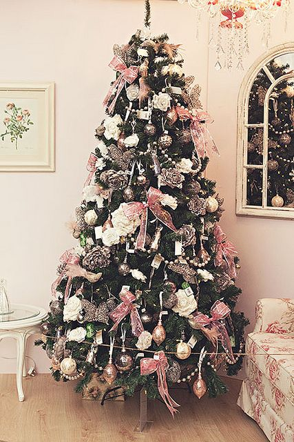 pastel pink christmas tree decor with bows and ornaments - Blush Christmas Decorations