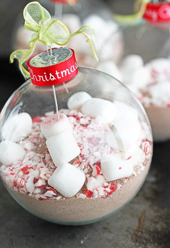 peppermint cocoa ornaments can also become gifts