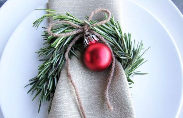 rosemary wreath with twine and an ornament