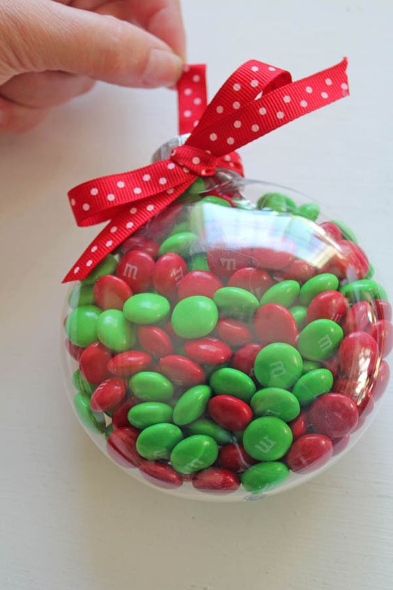 M&Ms fill ornament with a red bow