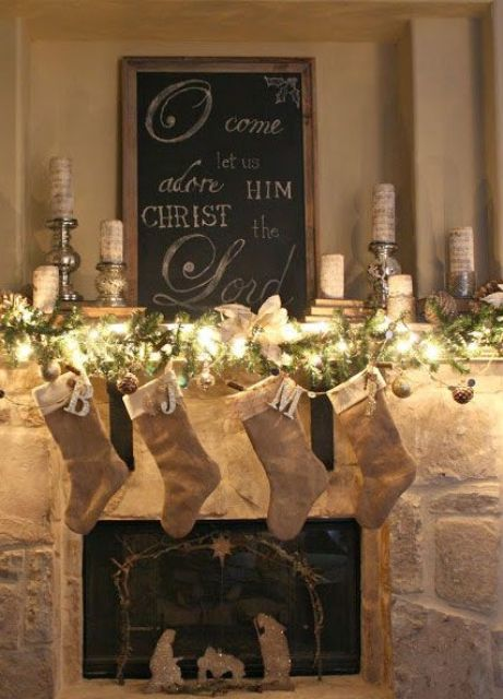 a lit garland and burlap stockings can be enough for christmas mantel decor - Christmas Mantel Decor