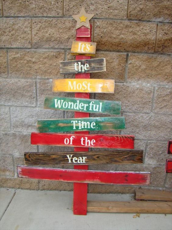 colorful narrow pallet tree with words