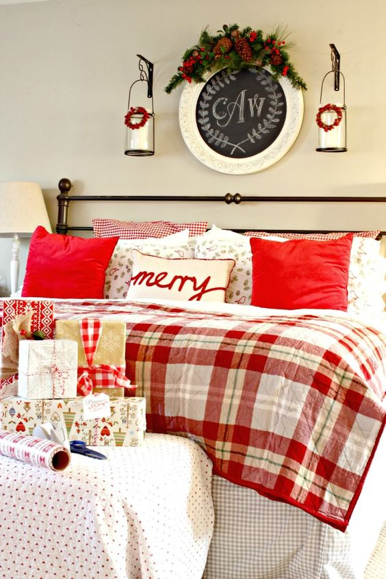 Ideal a plaid quilt flannel bedding and red pillows for an accent