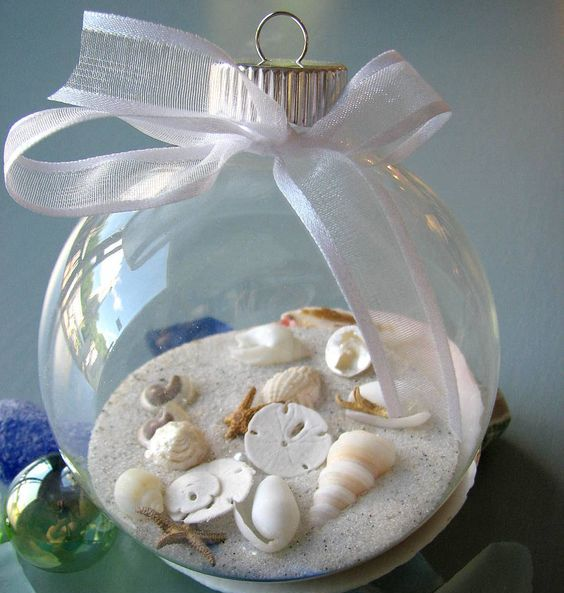 beach-inspired ornament filled with sand and small shells