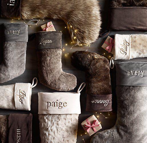 embroidered fur stockings for Christmas
