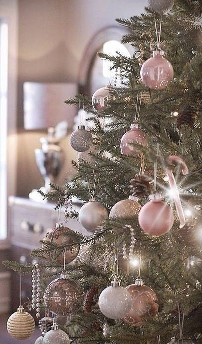 soft pastel tree decor in various delicate shades - Pink And Gold Christmas Decorations