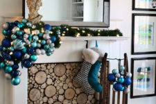 13 large blue ornament arrangement, lights and faux wood insert
