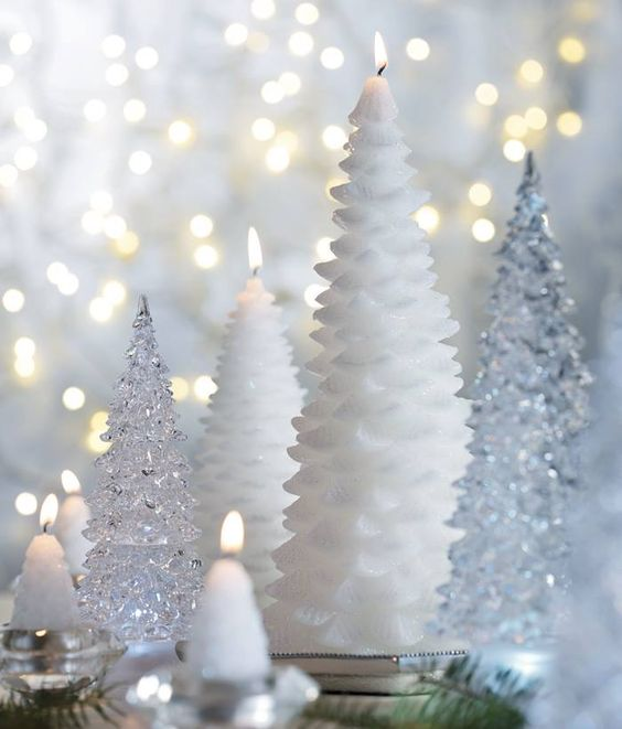 Christmas tree candles with silver plastic ones for dreamy decor