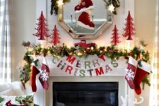 14 a natural-looking garland with lights, stockings and skates