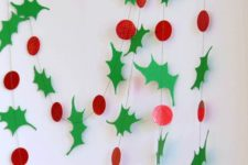 14 cardboard holly garland is a cheerful idea for holiday decor