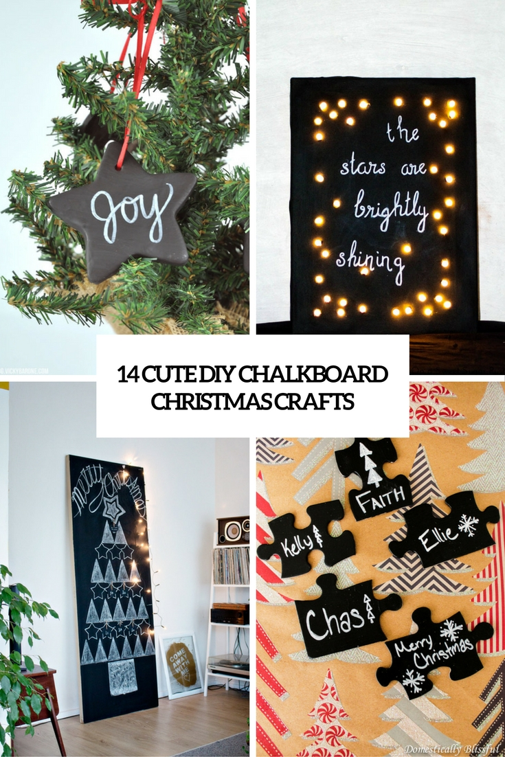 cute diy chalkboard christmas crafts cover