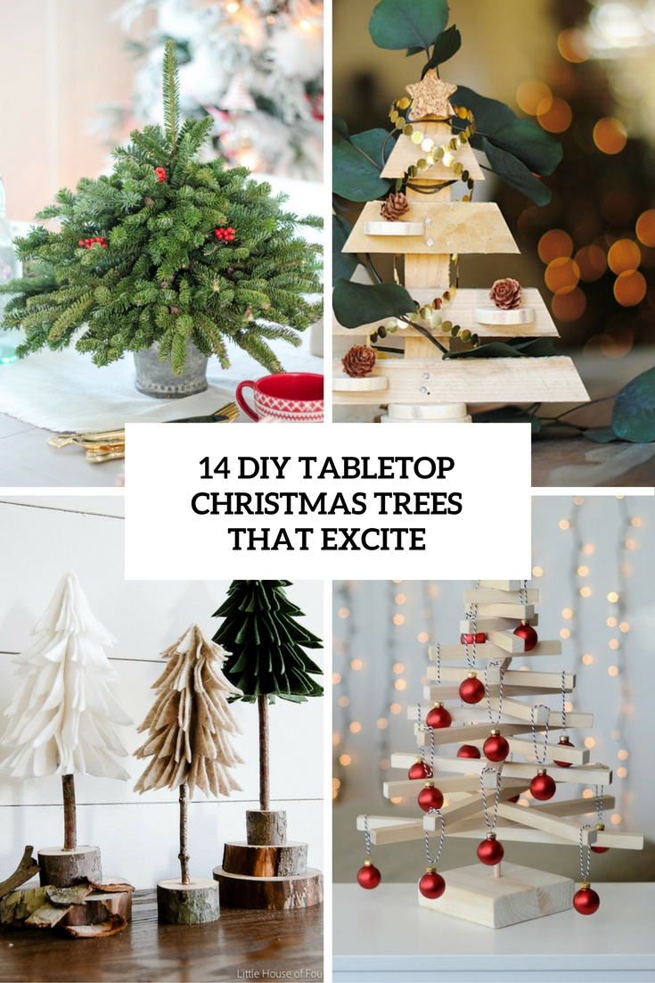 Little Christmas Trees Part - 43: 14 DIY Tabletop Christmas Trees That Excite