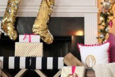 14 glam glitz mantel with sequin, ornaments and lights