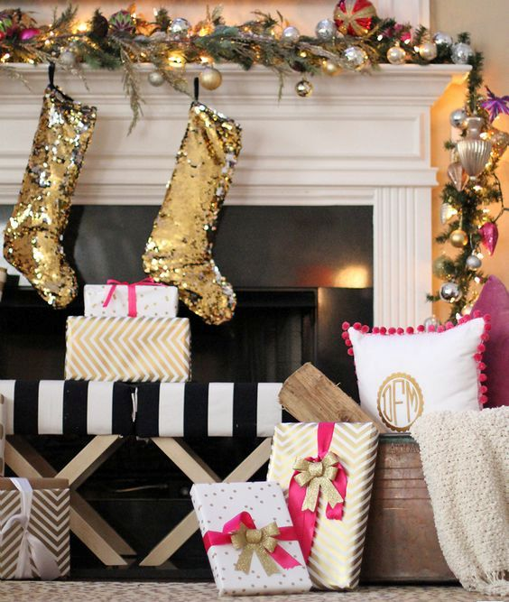 glam glitz mantel with sequin, ornaments and lights