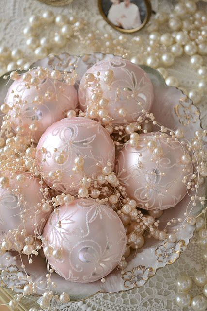 Vintage Pale Pink Ornaments And Pearls Look Gorgeous Together