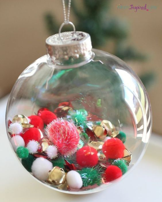 colorful pompoms to fill a glass ornament - Glass Christmas Bulbs For Decorating