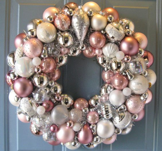 pink ivory and silver christmas ornaments wreath - Pastel Christmas Decorations