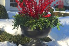 16 faux holly berries for container decor