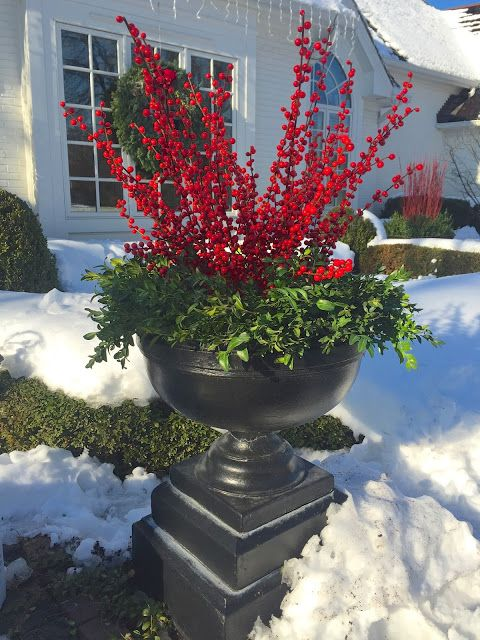 faux holly berries for container decor