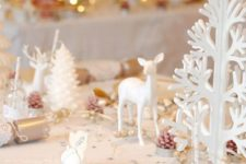16 glam table setting with pola dot plates, white trees and deer
