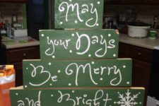 16 green pallet wood Christmas tree, each part is used as a sign