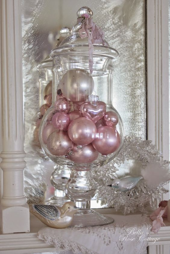 place cool pink ornaments into a jar with a lid for cute Christmas decor