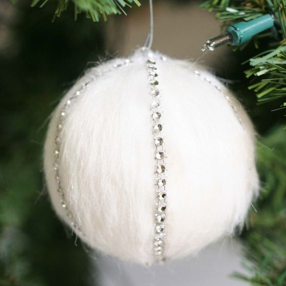 faux fur ornament with rhinestones for a glam tree