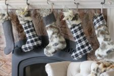 17 plaid and faux fur stockings for mantel decor