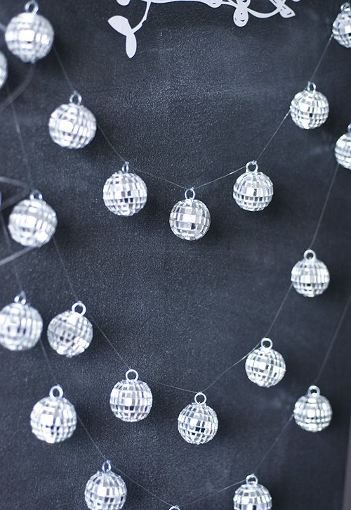 tiny disco ball garlands for decorating winter holidays