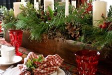 17 wooden box with greenery, pinecones and pillar candles