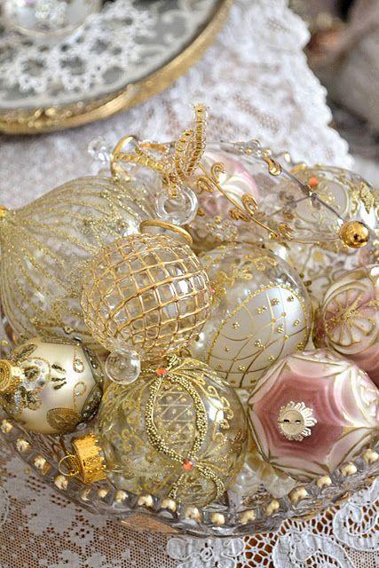 beautiful antique glass ornaments display