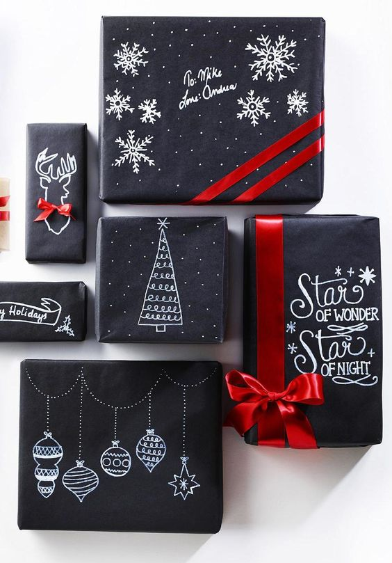 black wrapping paper decorated with a white sharpie pen and red ribbon