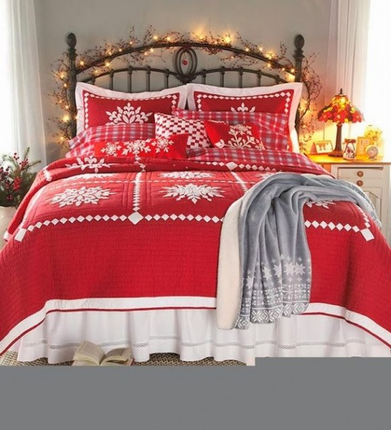 cover your headboard with lights to fill the bedroom with the holiday spirit