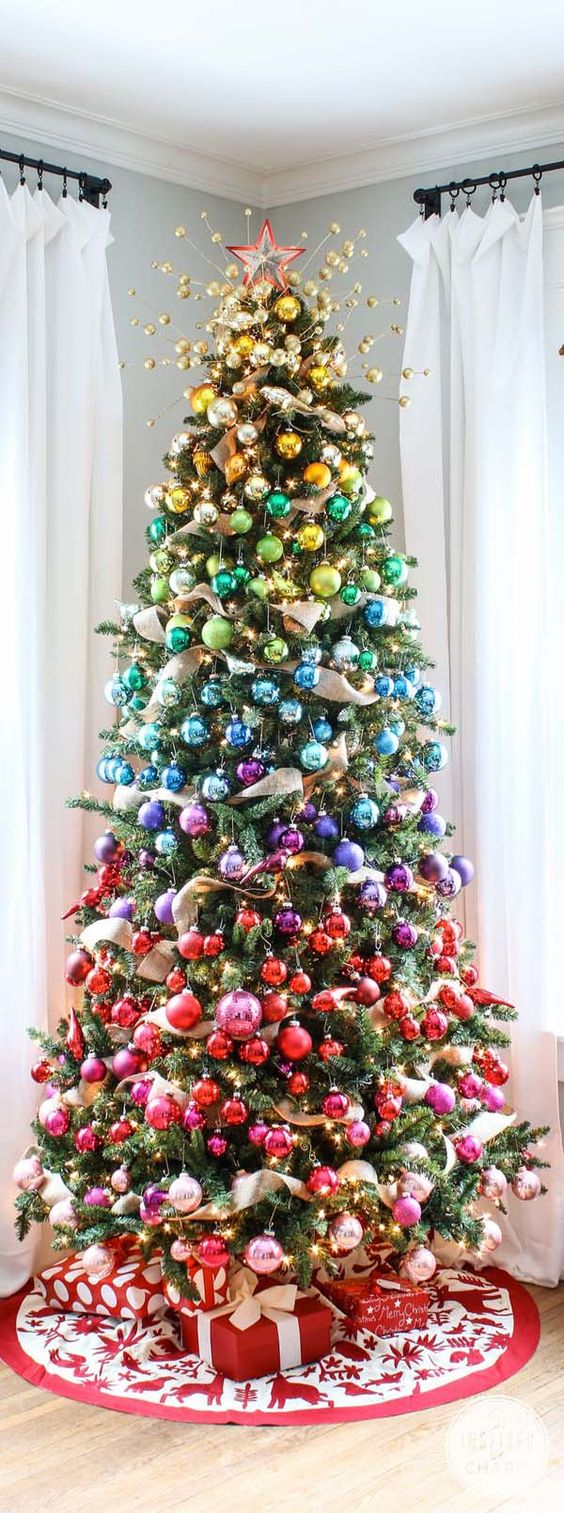 if you can't choose colors for decorating a tree, go for rainbow ornaments
