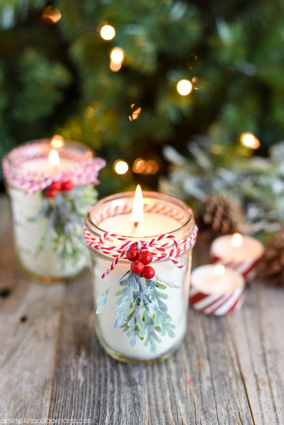 mason jar candles with twine and berries