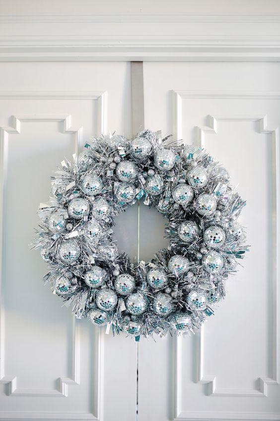 sparkling silver disco ball wreath