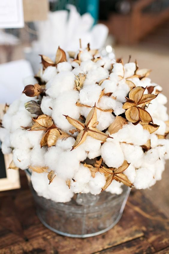 use cotton balls instead of faloral arrangements, they look softer and cozier and last for long
